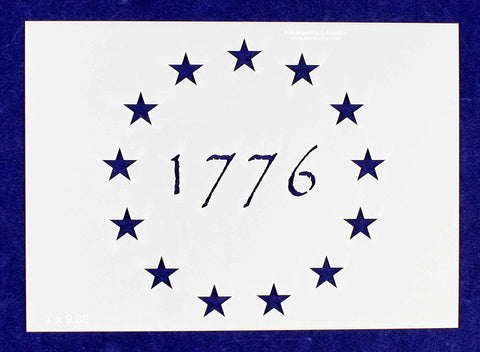 1776 13 Star Stencil-5.25 x 7.41 G-Spec Painting/Crafts/ Templates