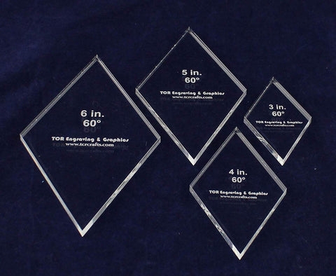 "Diamond Templates 3"", 4"", 5"", 6"" - Clear 1/4"" 60 Degree-Actual Size"