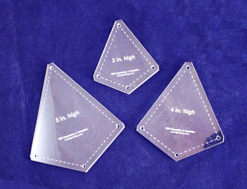 "3 Piece ""Kite"" Shape Quilting Template -Set - 1/4"" Clear Acrylic"