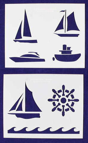 "Boat Stencils Mylar 2 Pieces of 14 Mil 8"" X 10"" - Painting /Crafts/ Templates"