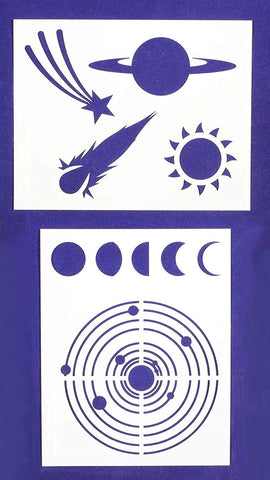 Space-Planets -Stencils -2 pc set-Mylar 14mil - Painting /Crafts/ Templates