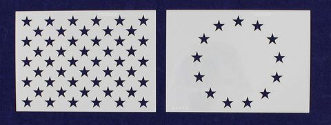 "2 Pc- 3.5"" x 4.9"" -13 Star Revolutionary War & 50 Star Fields. G-sped-Stencils"