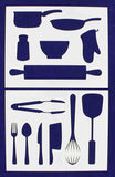 "Kitchen/Cooking Stencils 2 Piece Set - 14 Mil -8"" X 10"" - Painting /Crafts/ Templates"