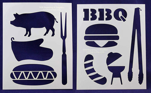 "BBQ/Grilling -2 Piece Stencil Set 14 Mil 8"" X 10"" Painting /Crafts/ Templates"