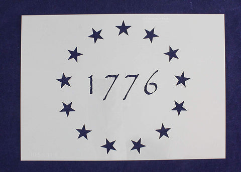 13 Star Betsy Ross Revolutionary Field (1776) Stencil 14 Mil Mylar-10.5 x 14.8 Inches