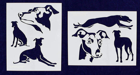 "Greyhound Dog Stencils-Mylar 2 Pieces of 14 Mil 8"" X 10"" - Painting /Crafts/ Templates"