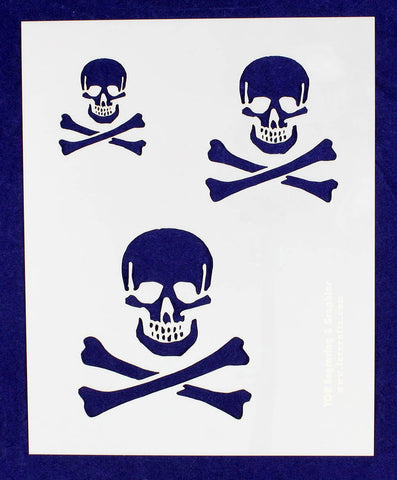 "Skull Stencil 14 Mil- 2"", 3"", 4"" -1 Sheet-Painting /Crafts/ Templates"