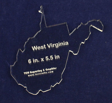 "State of West Virginia Template 6"" X 5.5"" - Clear 1/4"" Thick Acrylic"