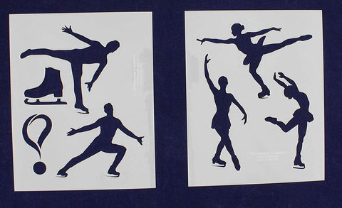 "Ice Skating Stencils - 2 Piece Set - 8"" x 10"""