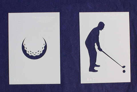 Golf Stencils 2 Piece Set 5 x 7 Inches