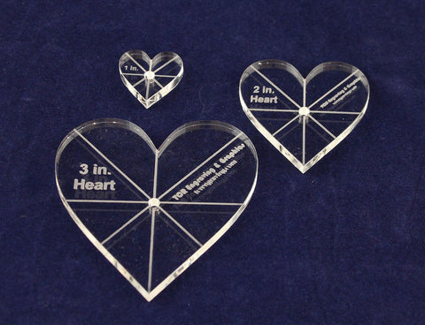 "Heart Template 3 Piece Set. 1"",2"",3"" - Clear 1/4"" Thick w/ guidelines"