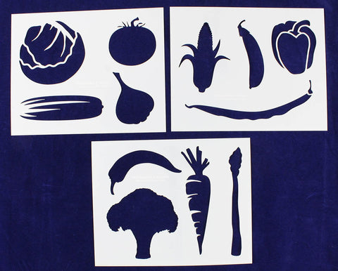 Vegetable Stencils- 3 Piece Set -14 Mil Mylar