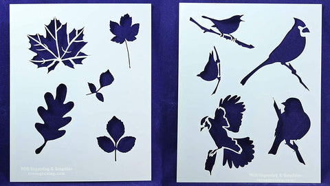 Nature Stencils - Birds and Leaves 14 Mil Mylar
