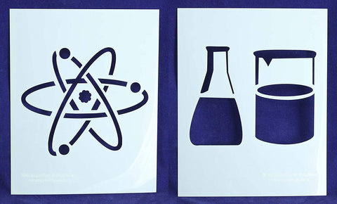 "Beaker/Flask/Atom Science Stencils Mylar 2 Pieces of 14 Mil 8"" X 10"" - Painting /Crafts/ Templates"