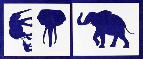 Elephant Stencils -2 pc Set-Mylar 14mil - Painting/Crafts/Templates