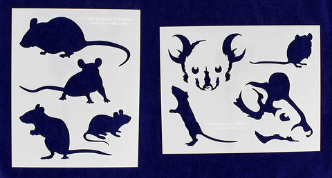 "Mouse (Mice) Stencils Mylar 2 Pieces of 14 Mil 8"" X 10"" - Painting /Crafts/ Templates"