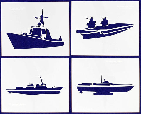 "War Ships-- 4 Piece Stencil Set 14 Mil 8"" X 10"" Painting /Crafts/ Templates"