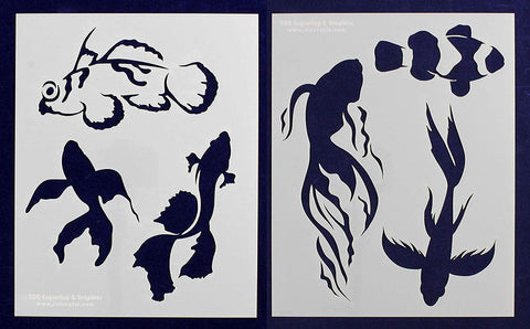 "Tropical Fish Stencils- Mylar 2 Pieces of 14 Mil 8"" X 10"" Painting /Crafts/ Templates"