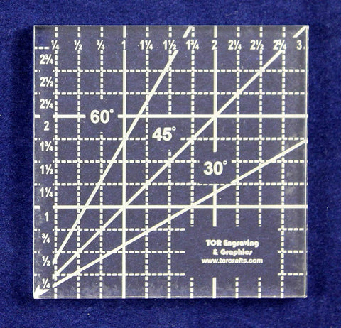 "3"" Square Ruler -Acrylic 1/4"" -Back Engraved- Quilting/sewing"