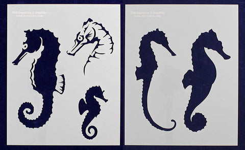 "Sea Horse Stencils- Mylar 2 Pieces of 14 Mil 8"" X 10"" Painting /Crafts/ Templates"
