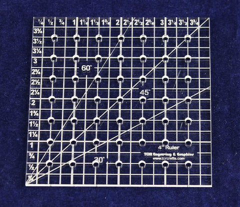 "Square Ruler 4"". - Clear Acrylic - Quilting/Sewing - Template 1/8"""