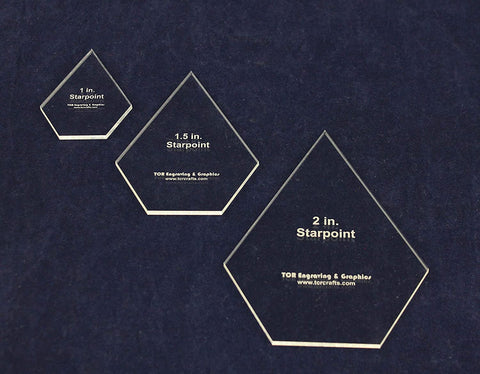 "3 Piece Starpoint Set-1, 1.5, 2 Inches -1/8"" Acrylic - Actual Size"