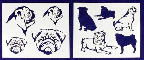 "Pug Dog Stencils-Mylar 2 Pieces of 14 Mil 8"" X 10"" - Painting /Crafts/ Templates"