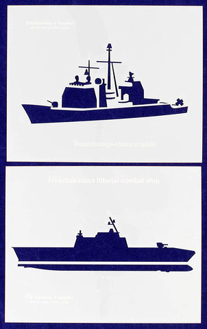 "U.S. Navy Ships-Combat-Cruiser- 2 Piece Stencil Set 14 Mil 8"" X 10"" Painting /Crafts/ Templates"