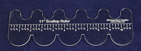 "11"" Scallop Ruler - Clear Acrylic - Quilting/Sewing/Embroidery - Template 1/8"""
