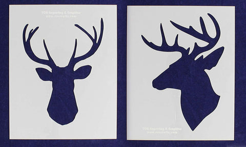"Buck-Deer Head Stencils -Mylar 2 Pieces of 14 Mil 8"" X 10"" - Painting /Crafts/ Templates"
