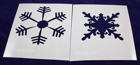 "Large Snowflake 2 Piece Stencil Set 14 Mil 8"" X 10"" Painting /Crafts/ Templates"