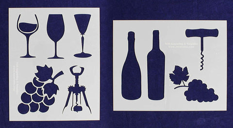 "Wine Stencils -Mylar 2 Pieces of 14 Mil 8"" X 10""- Painting /Crafts/ Templates"
