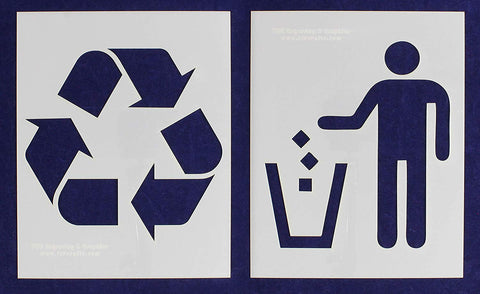 "Recycle-Trash 2 Piece Stencil Set 14 Mil 8"" X 10"" Painting /Crafts/ Templates"