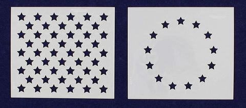 "2 Pc- 3.5"" x 4"" -13 Star Revolutionary War & 50 Star Fields. Stencils"