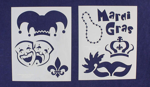 Mardi Gras Stencils - 2 Piece Set - 8 x 10 Inches