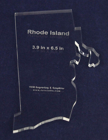 State of Rhode Island Template - 3.9 X 6.5 Inches - 1/4 Inch Thick