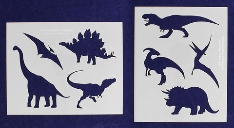 "Dinosaur Stencils -Mylar 2 Pieces of 14 Mil 8"" X 10""- Painting /Crafts/ Templates"