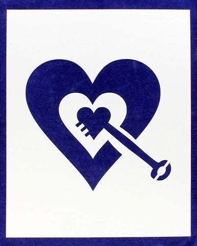 "Heart with Key Stencil -Mylar 14 Mil 17.5""H X 14""W - Painting /Crafts/ Templates"