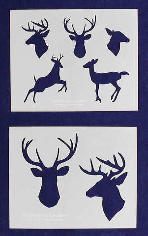"Deer/Buck 2 Piece Stencil Set 14 Mil 8"" X 10"" Painting /Crafts/ Templates"
