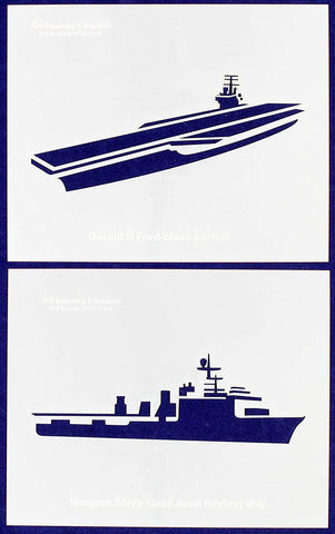 "U.S. Navy Ships-Carrier-Landing ship 2 Piece Stencil Set 14 Mil 8"" X 10"" Painting /Crafts/ Templates"