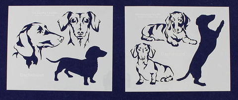 "Dachshund Dog Stencils-Mylar 2 Pieces of 14 Mil 8"" X 10"" - Painting/Crafts/Templates"