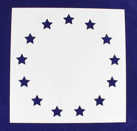 "13 Star Revolutionary Field Stencil 14 Mil -13"" x 13"" - Painting /Crafts/ Templates"