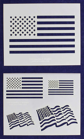 "Mylar 2 Pieces of 14 Mil 8"" X 10"" Us Flag Stencils- Painting /Crafts/ Templates"