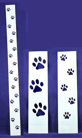 Dog Paw Tracks 3 Piece Stencil Set-Border-14 Mil -Painting /Crafts/ Templates
