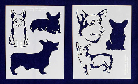 "Corgi Dog Stencils-Mylar 2 Pieces of 14 Mil 8"" X 10"" - Painting /Crafts/ Templates"