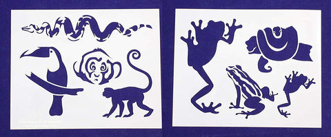 "Jungle Animals -2 Piece Stencil Set 14 Mil 8"" X 10"" Painting /Crafts/ Templates"