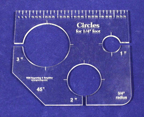"3 Circles Template for 1/4"" Foot - Clear with Ruler 1/4"" Thick 1"", 2"", 3"""