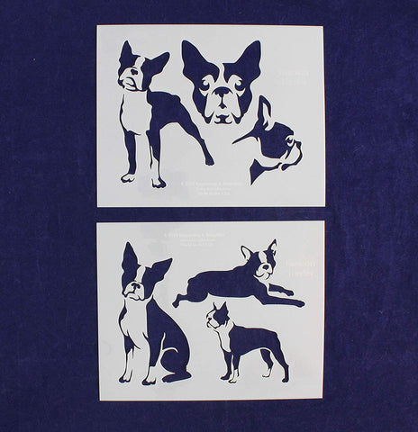Boston Terrier Dog Stencils - 2 Piece Set