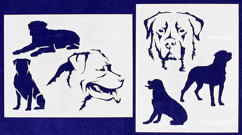 "Rottweiler Dog Stencils-Mylar 2 Pieces of 14 Mil 8"" X 10"" - Painting /Crafts/ Templates"