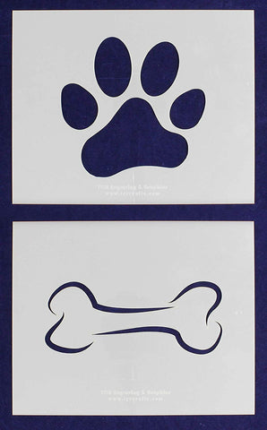 "Mylar 2 Pieces of 14 Mil 8"" X 10"" Large Dog Bone - Paw Print Stencils- Painting /Crafts"